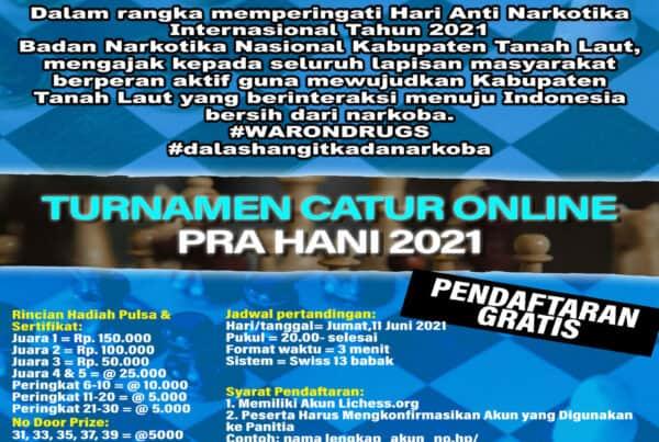 Open Tournament Catur Pra Hari Anti Narkotika Internasional (HANI) 2021
